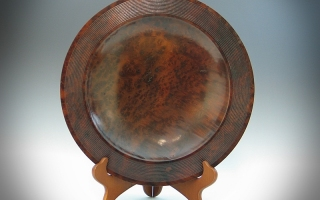 Camphor Burl Platter with Beaded Rim