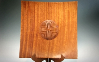 Sapele Square Platter with Beaded Center Dome  #1